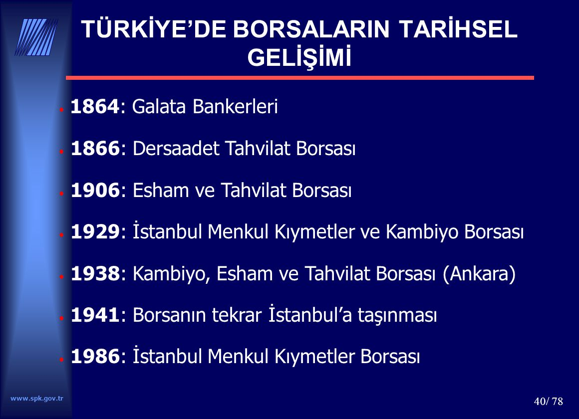 TÜRKİYE'DE BORSALARIN TARİHSEL GELİŞİMİ