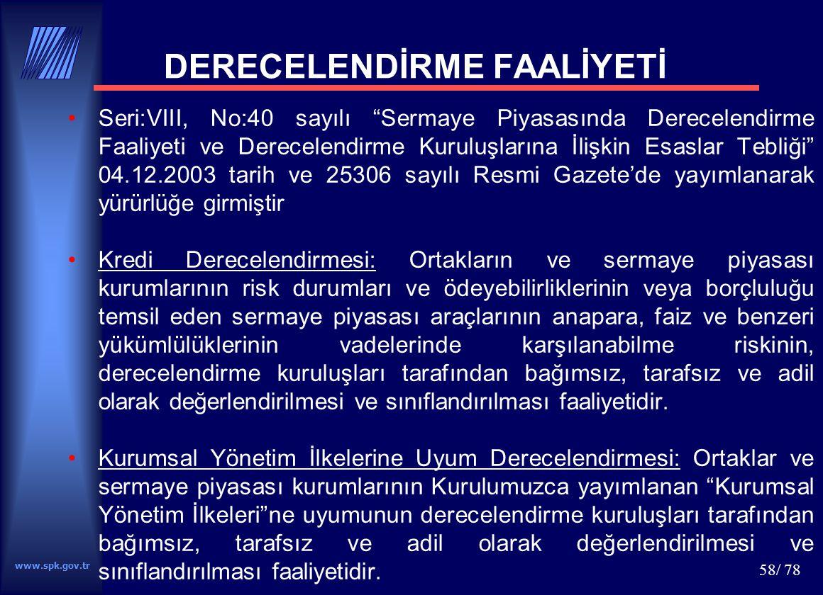 DERECELENDİRME FAALİYETİ