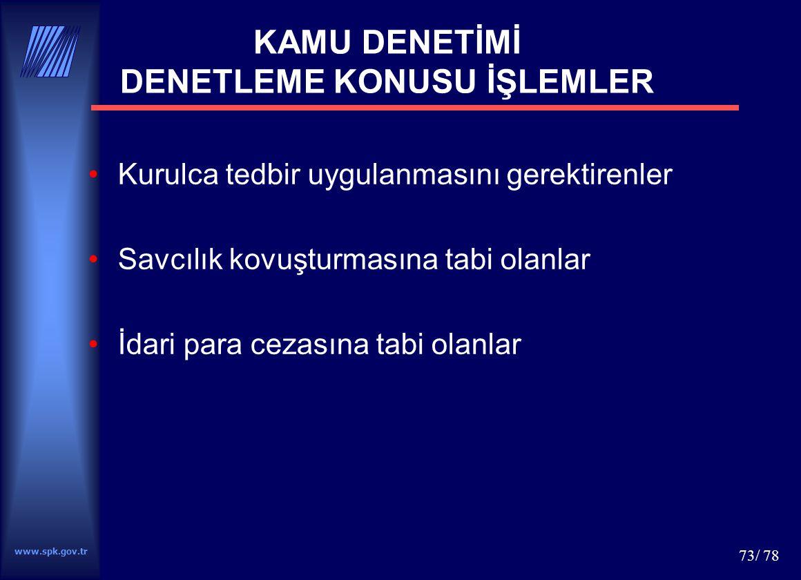 KAMU DENETİMİ DENETLEME KONUSU İŞLEMLER