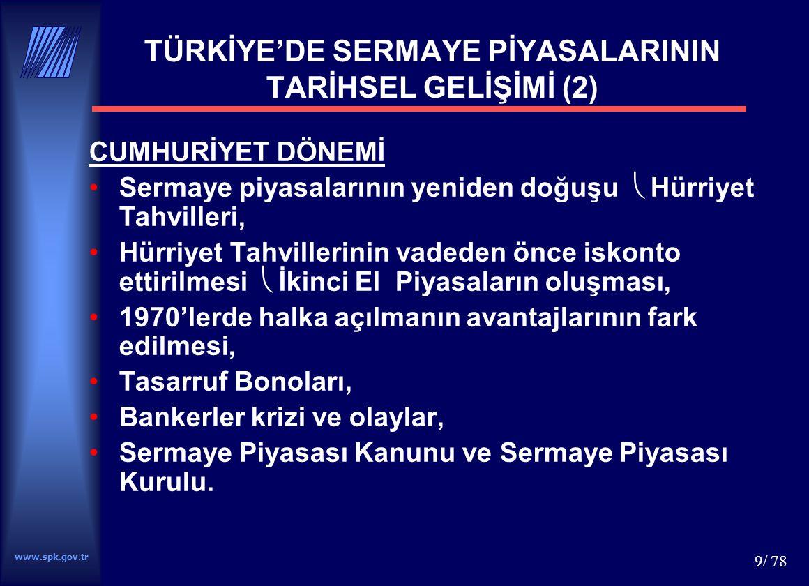 TÜRKİYE'DE SERMAYE PİYASALARININ TARİHSEL GELİŞİMİ (2)
