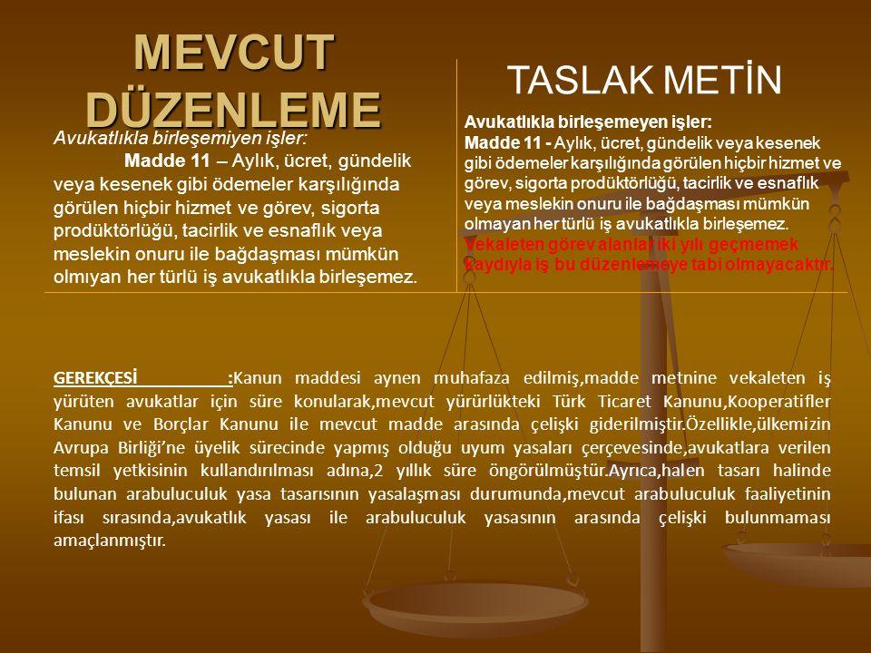 MEVCUT DÜZENLEME TASLAK METİN Avukatlıkla birleşemiyen işler: