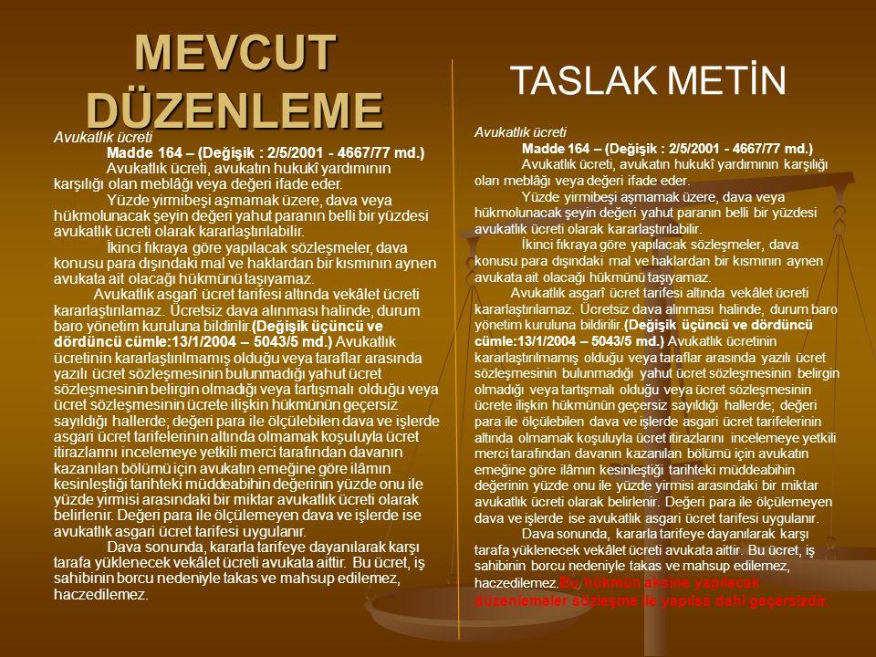 MEVCUT DÜZENLEME TASLAK METİN Avukatlık ücreti