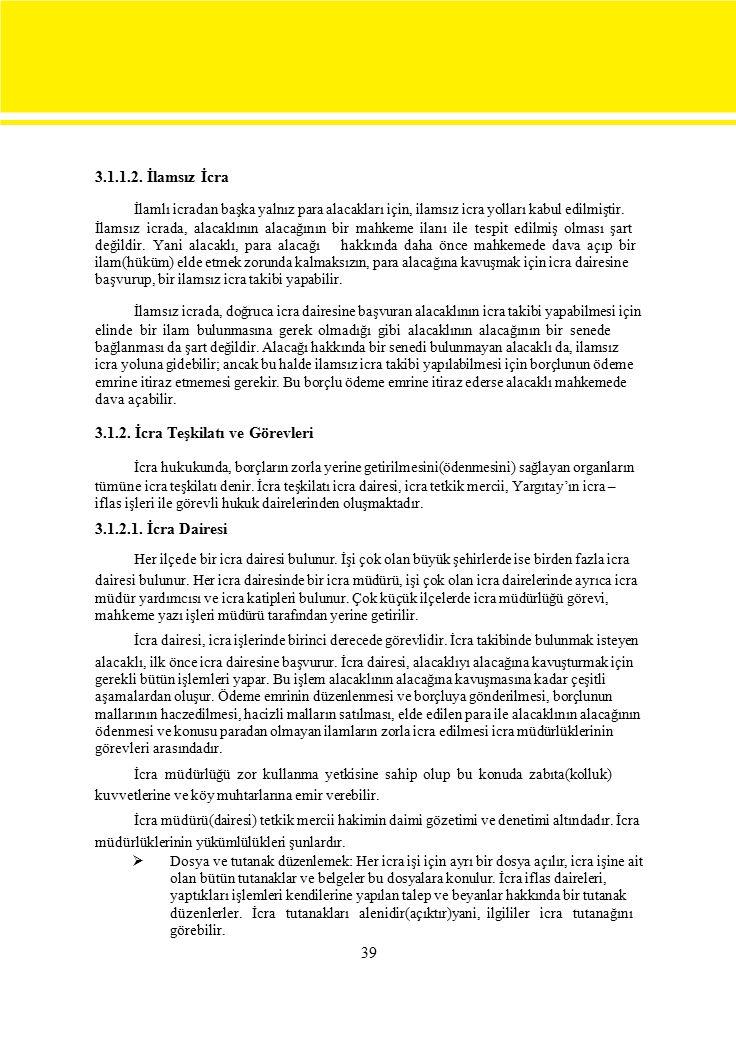 3.1.2. İcra Teşkilatı ve Görevleri