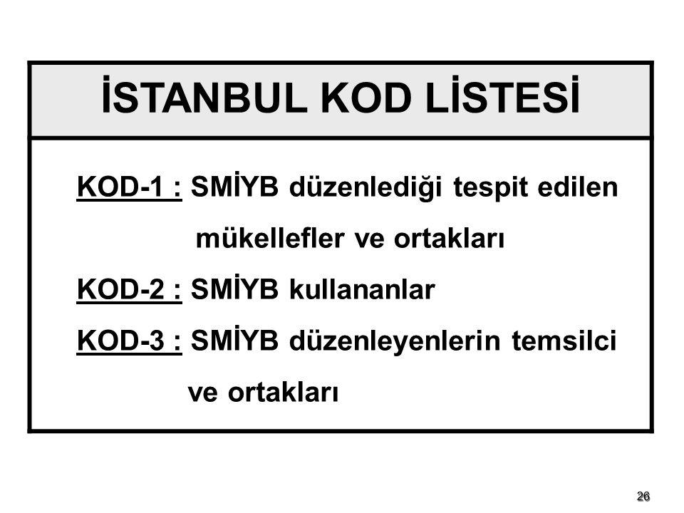 İSTANBUL KOD LİSTESİ KOD-1 : SMİYB düzenlediği tespit edilen