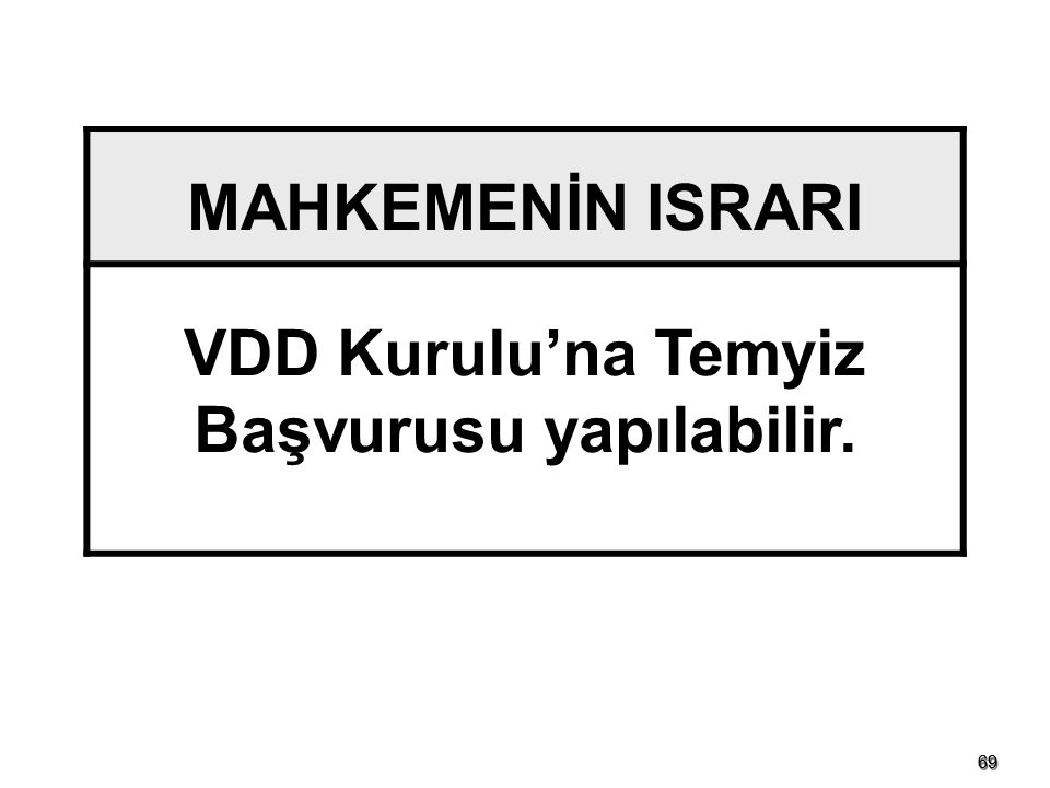 VDD Kurulu'na Temyiz Başvurusu yapılabilir.