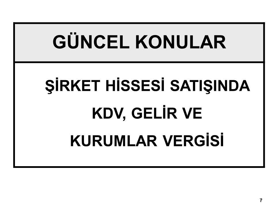 ŞİRKET HİSSESİ SATIŞINDA