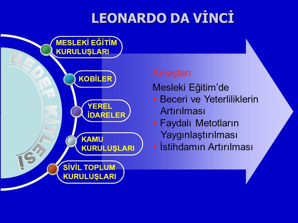 LEONARDO DA VİNCİ HEDEF KİTLESİ Amaçları Mesleki Eğitim'de