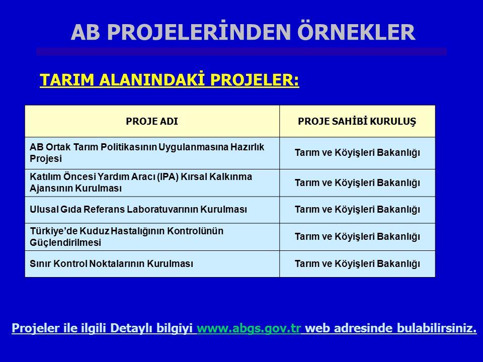 AB PROJELERİNDEN ÖRNEKLER Tarım ve Köyişleri Bakanlığı