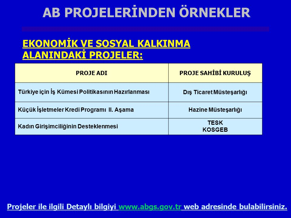 AB PROJELERİNDEN ÖRNEKLER Dış Ticaret Müsteşarlığı