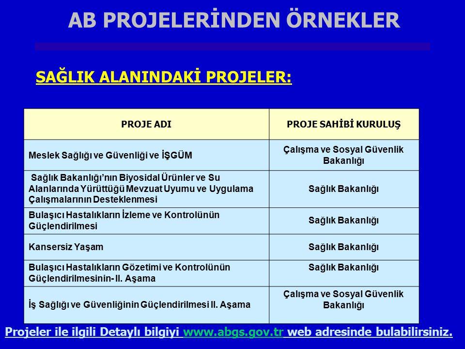 AB PROJELERİNDEN ÖRNEKLER Çalışma ve Sosyal Güvenlik Bakanlığı