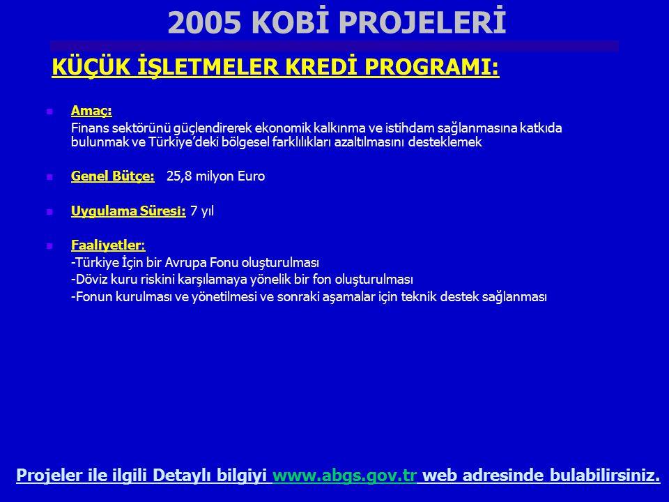 2005 KOBİ PROJELERİ KÜÇÜK İŞLETMELER KREDİ PROGRAMI:
