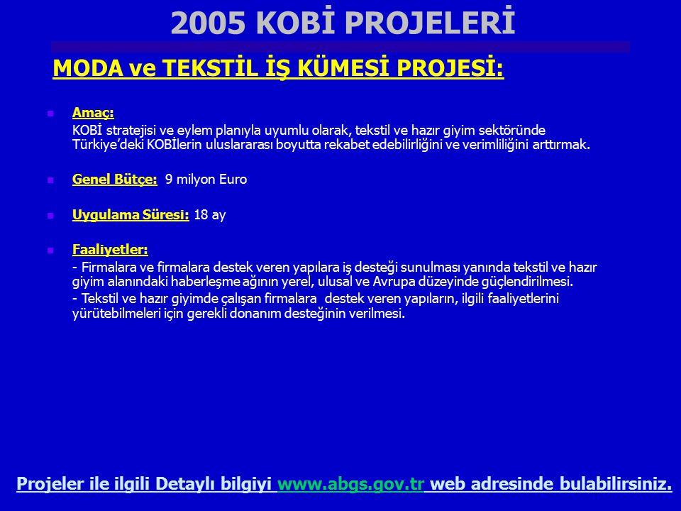 2005 KOBİ PROJELERİ MODA ve TEKSTİL İŞ KÜMESİ PROJESİ:
