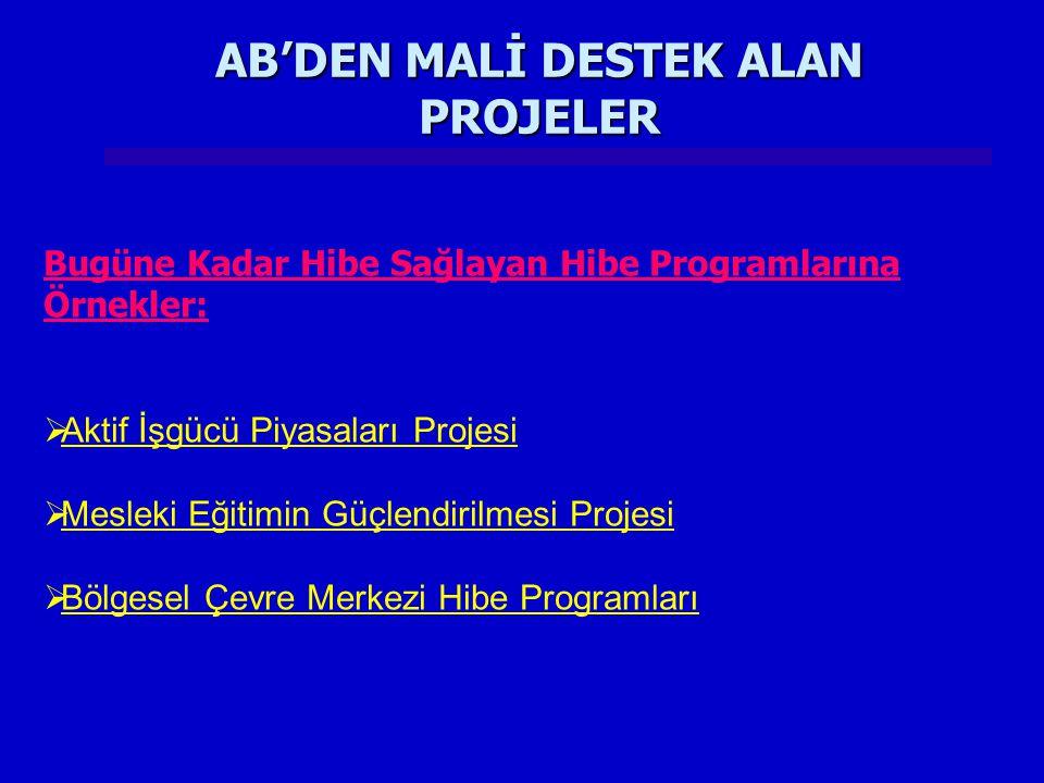 AB'DEN MALİ DESTEK ALAN PROJELER
