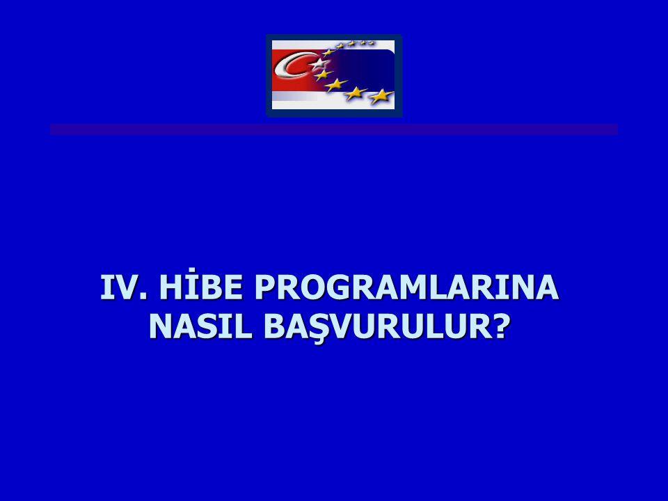 IV. HİBE PROGRAMLARINA NASIL BAŞVURULUR