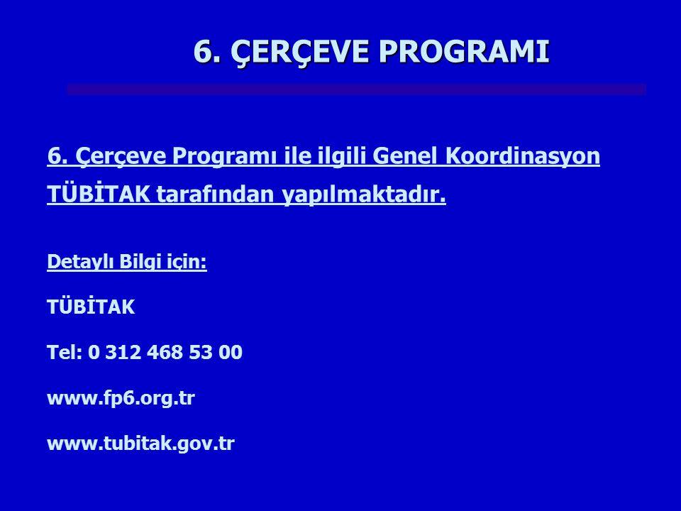 6. ÇERÇEVE PROGRAMI 6. Çerçeve Programı ile ilgili Genel Koordinasyon TÜBİTAK tarafından yapılmaktadır.