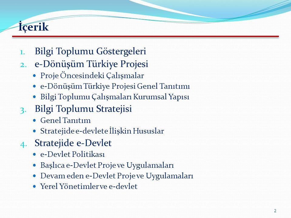 İçerik Bilgi Toplumu Göstergeleri e-Dönüşüm Türkiye Projesi