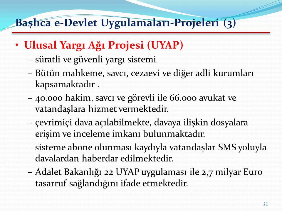 Başlıca e-Devlet Uygulamaları-Projeleri (3)