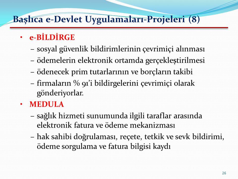Başlıca e-Devlet Uygulamaları-Projeleri (8)