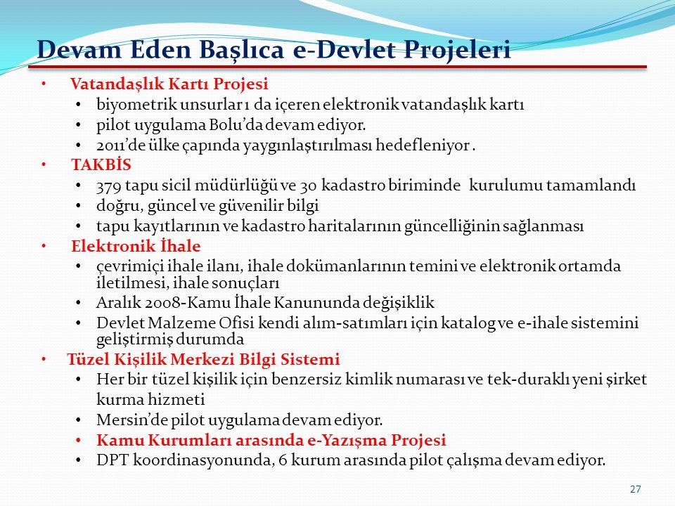 Devam Eden Başlıca e-Devlet Projeleri