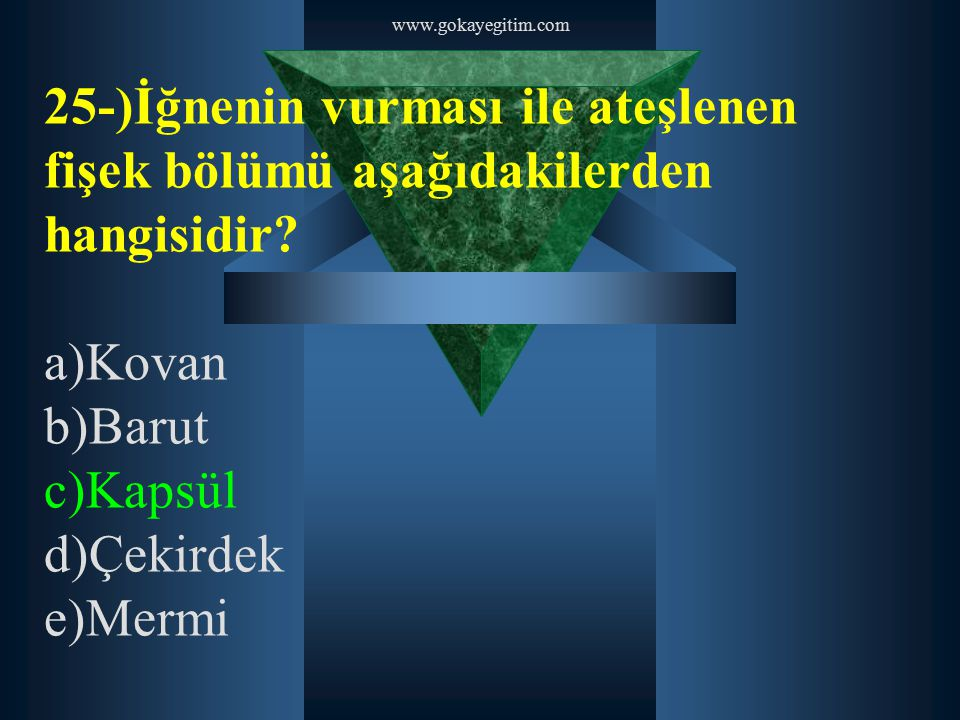 www.gokayegitim.com 25-)İğnenin vurması ile ateşlenen fişek bölümü aşağıdakilerden hangisidir a)Kovan.
