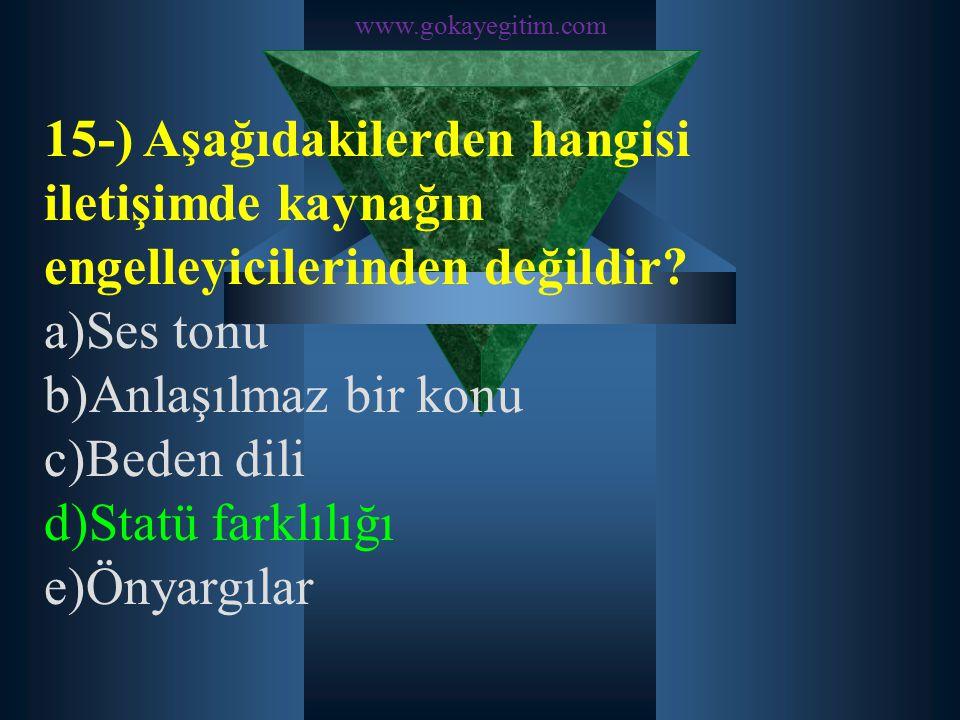 www.gokayegitim.com 15-) Aşağıdakilerden hangisi iletişimde kaynağın engelleyicilerinden değildir a)Ses tonu.