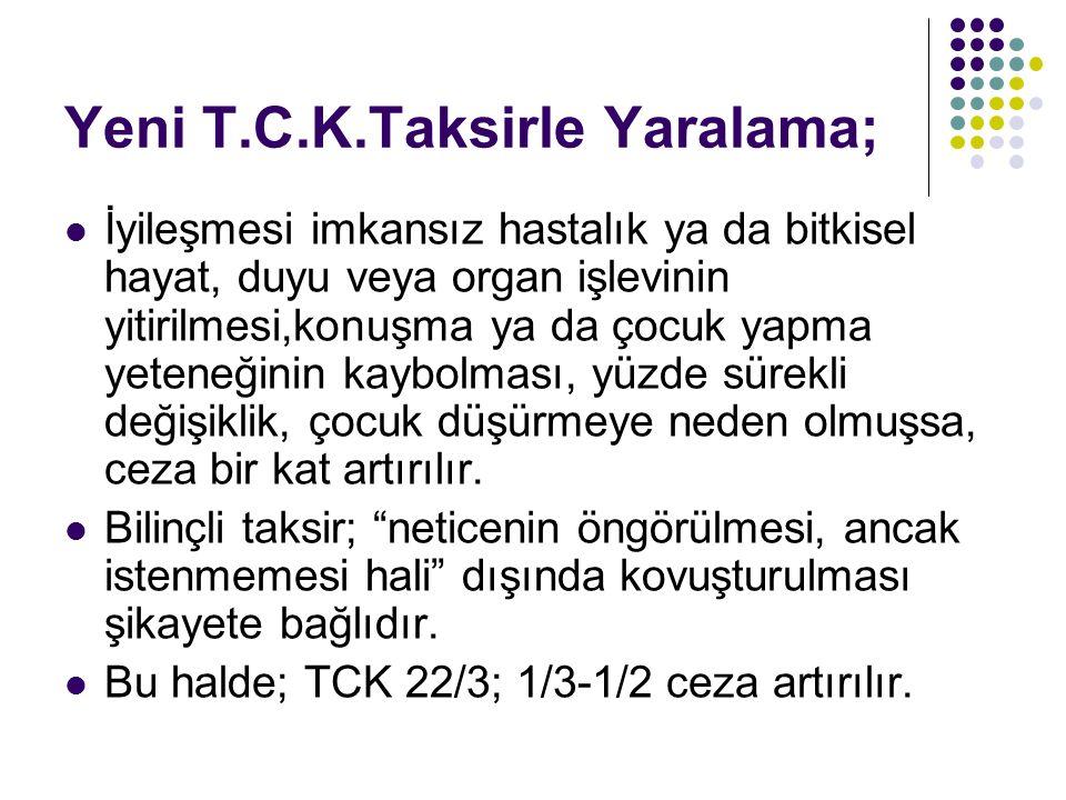 Yeni T.C.K.Taksirle Yaralama;