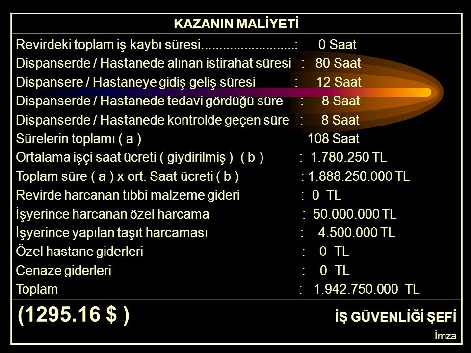 (1295.16 $ ) İŞ GÜVENLİĞİ ŞEFİ KAZANIN MALİYETİ