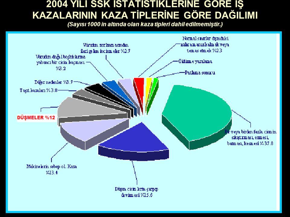 2004 YILI SSK İSTATİSTİKLERİNE GÖRE İŞ KAZALARININ KAZA TİPLERİNE GÖRE DAĞILIMI (Sayısı 1000 in altında olan kaza tipleri dahil edilmemiştir.)