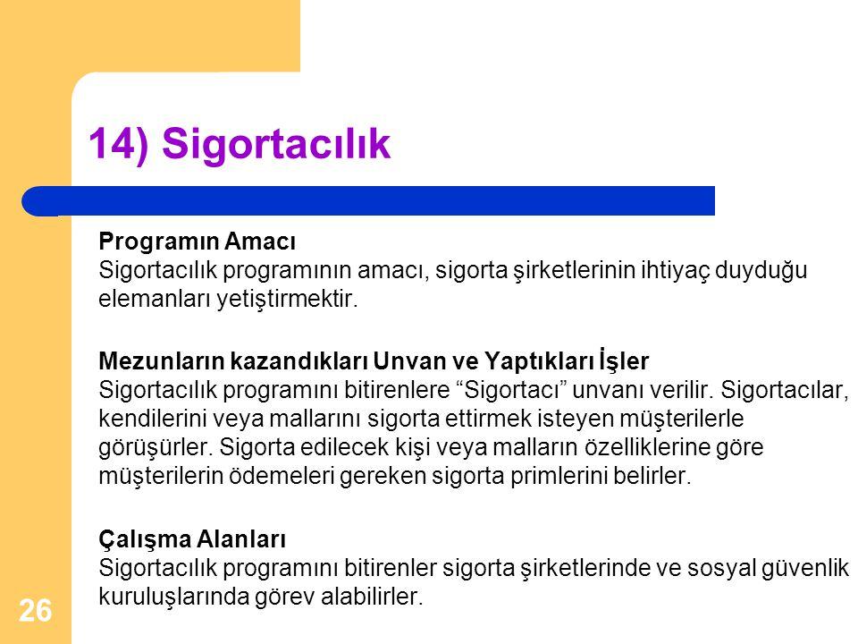 14) Sigortacılık Programın Amacı Sigortacılık programının amacı, sigorta şirketlerinin ihtiyaç duyduğu elemanları yetiştirmektir.