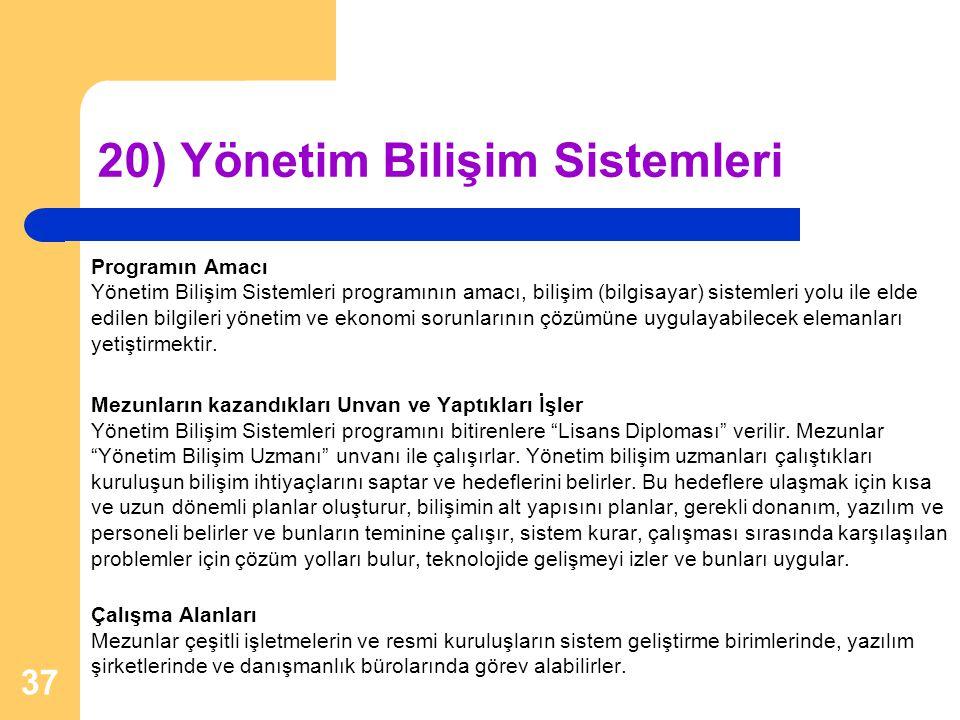 20) Yönetim Bilişim Sistemleri