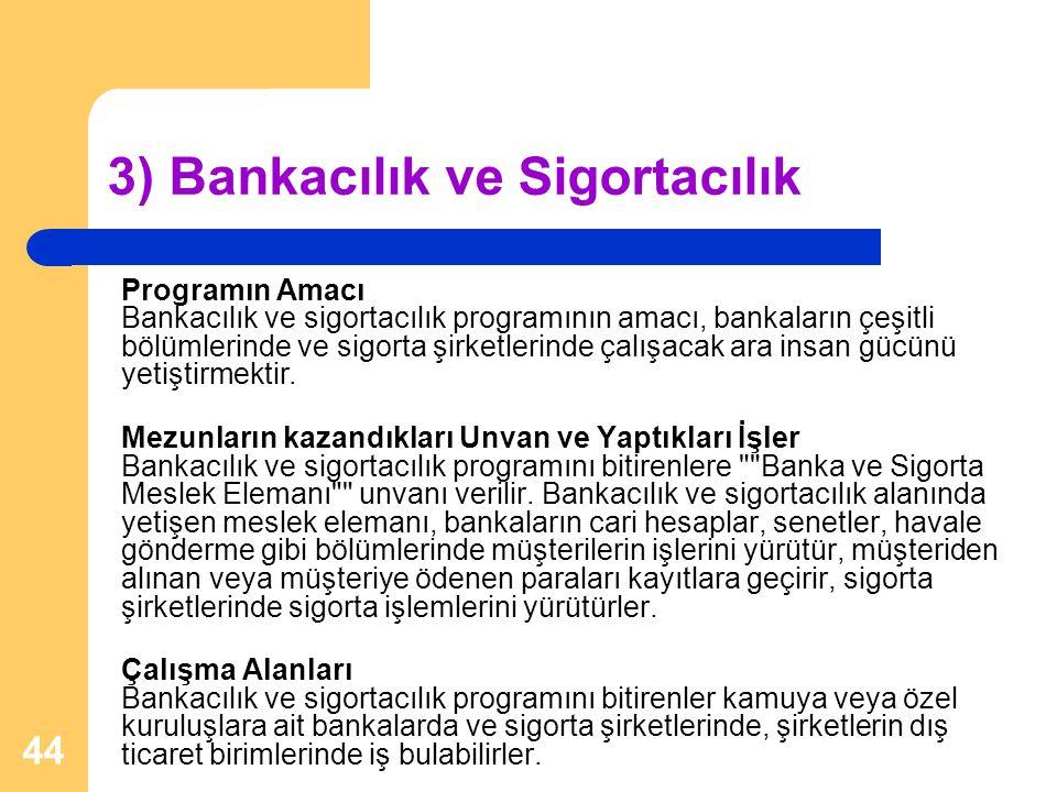 3) Bankacılık ve Sigortacılık