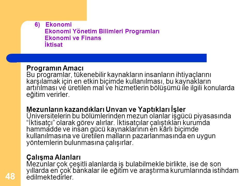 6) Ekonomi Ekonomi Yönetim Bilimleri Programları Ekonomi ve Finans İktisat