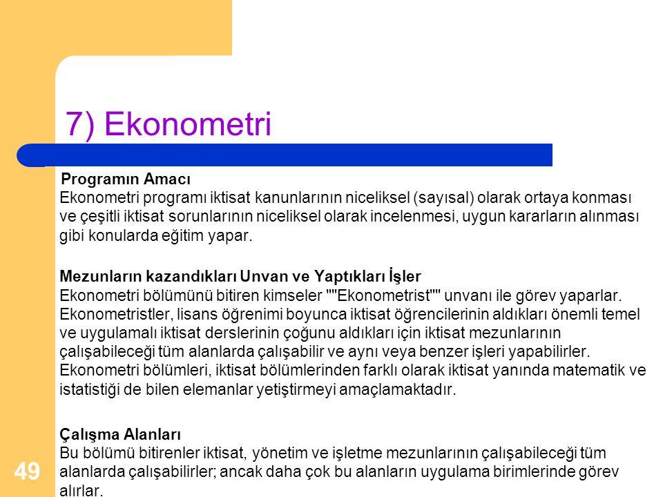 7) Ekonometri