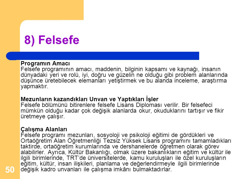 8) Felsefe
