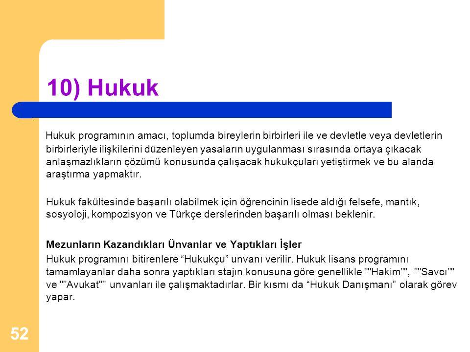 10) Hukuk