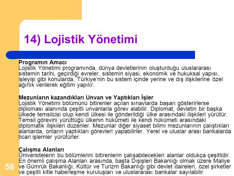 14) Lojistik Yönetimi