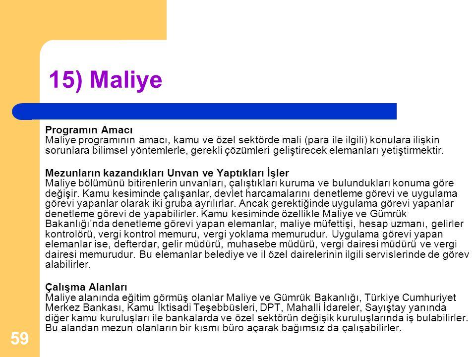 15) Maliye