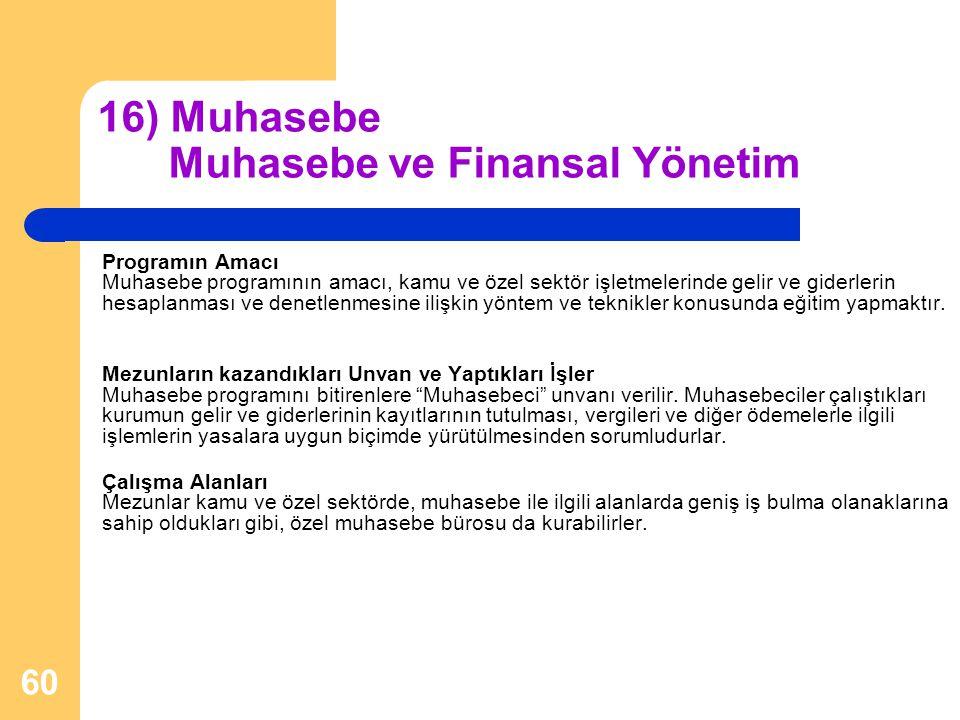 16) Muhasebe Muhasebe ve Finansal Yönetim