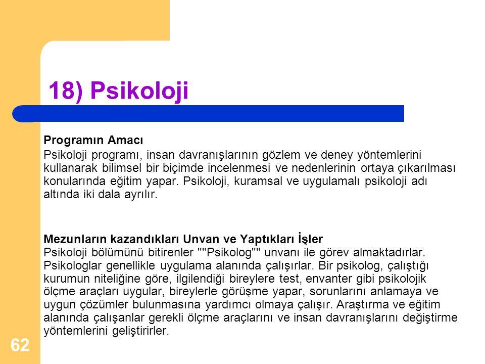 18) Psikoloji