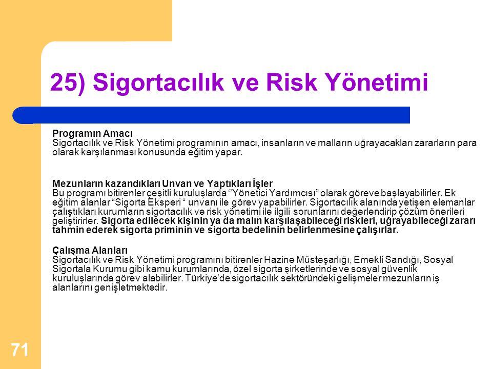 25) Sigortacılık ve Risk Yönetimi