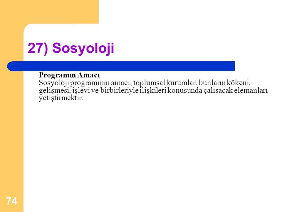 27) Sosyoloji