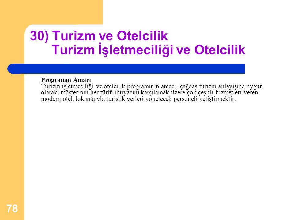 30) Turizm ve Otelcilik Turizm İşletmeciliği ve Otelcilik
