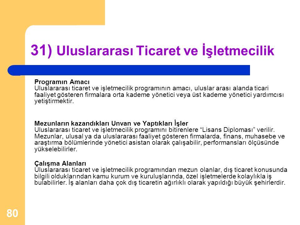31) Uluslararası Ticaret ve İşletmecilik