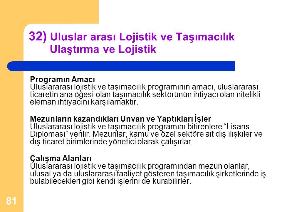 32) Uluslar arası Lojistik ve Taşımacılık Ulaştırma ve Lojistik