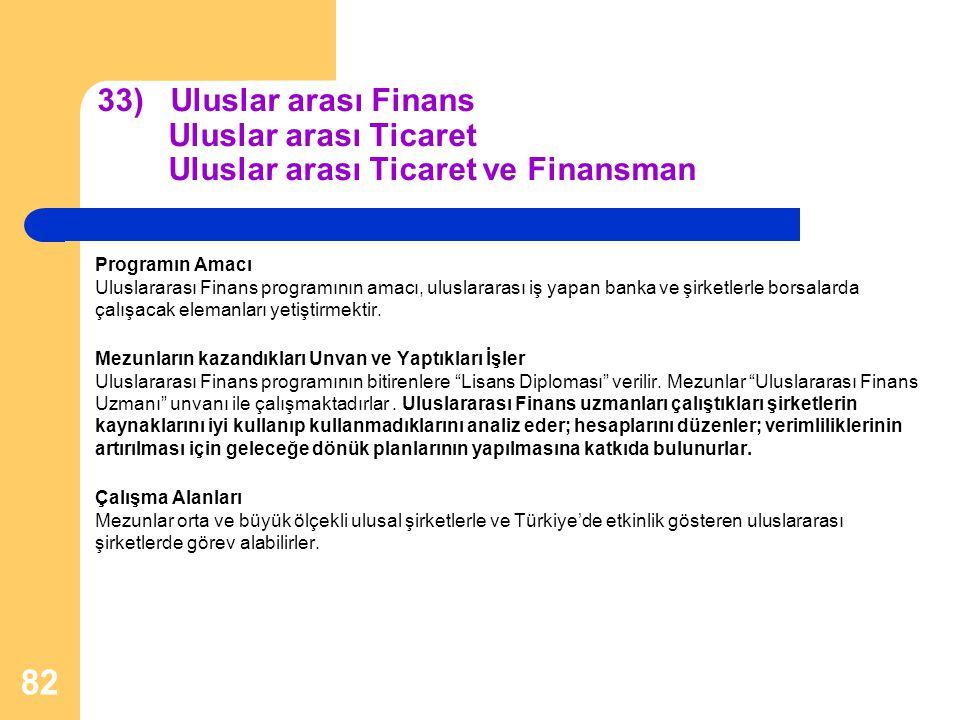 33) Uluslar arası Finans Uluslar arası Ticaret Uluslar arası Ticaret ve Finansman