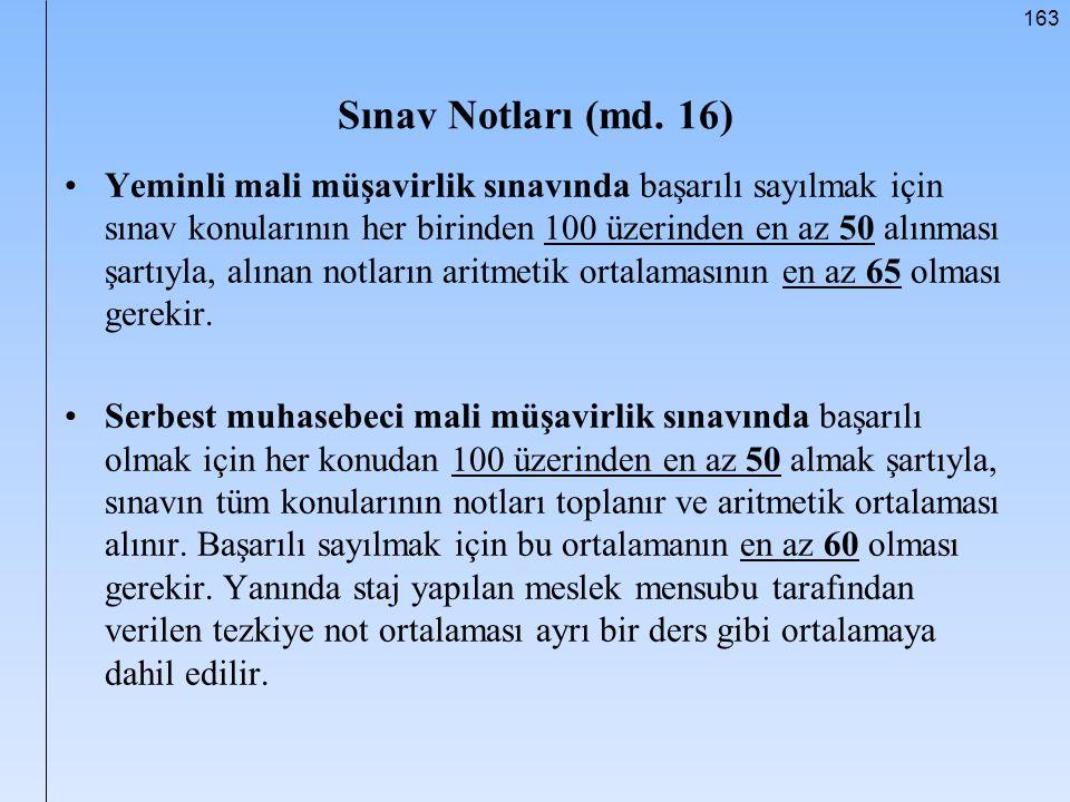 Sınav Notları (md. 16)