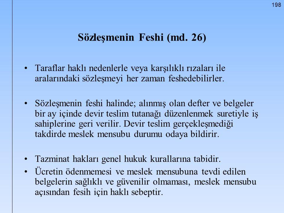 Sözleşmenin Feshi (md. 26)