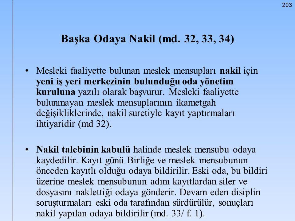 Başka Odaya Nakil (md. 32, 33, 34)
