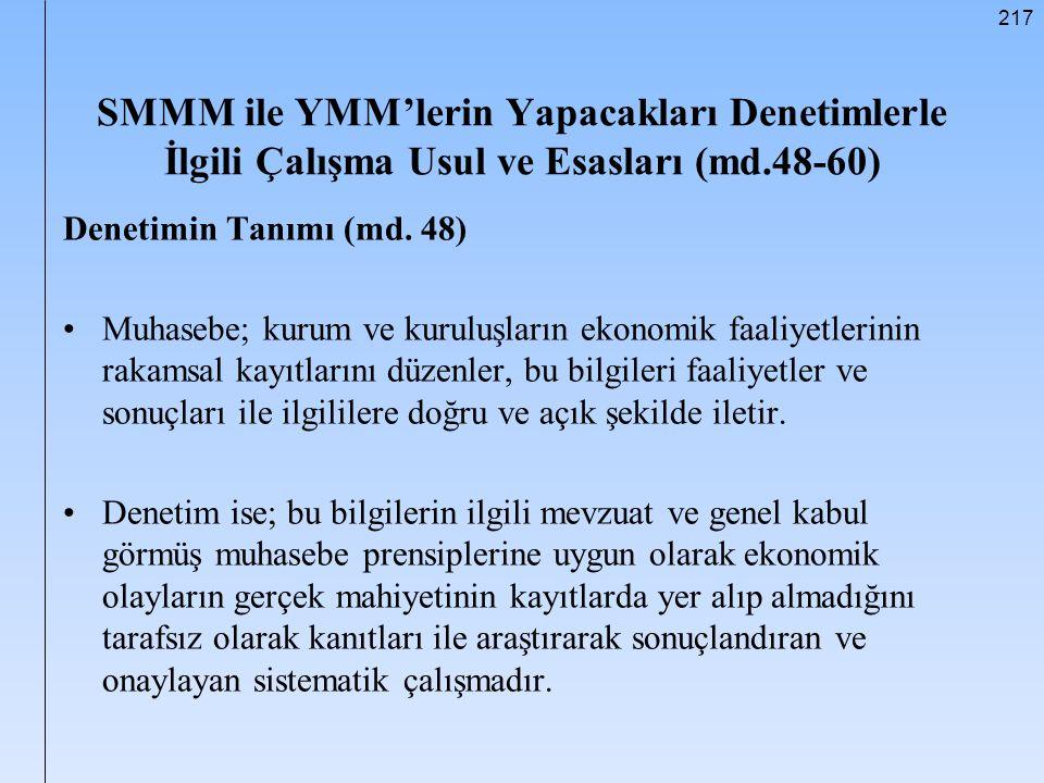 SMMM ile YMM'lerin Yapacakları Denetimlerle İlgili Çalışma Usul ve Esasları (md.48-60)