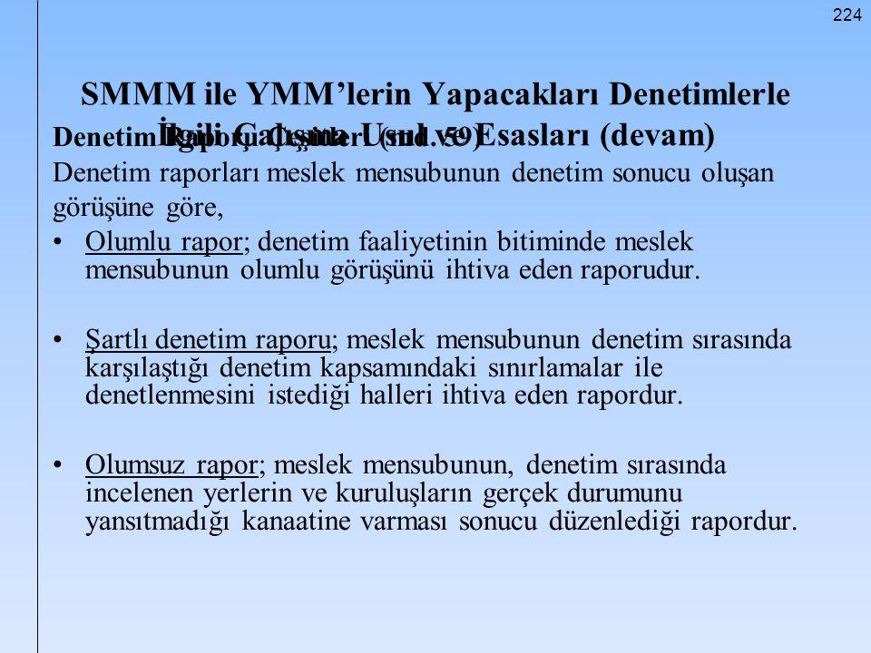 SMMM ile YMM'lerin Yapacakları Denetimlerle İlgili Çalışma Usul ve Esasları (devam)